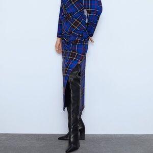 Plaid Zara High Waisted Skirt XS Blue